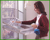 Woman Cleaning Harvey Double Hung Windows